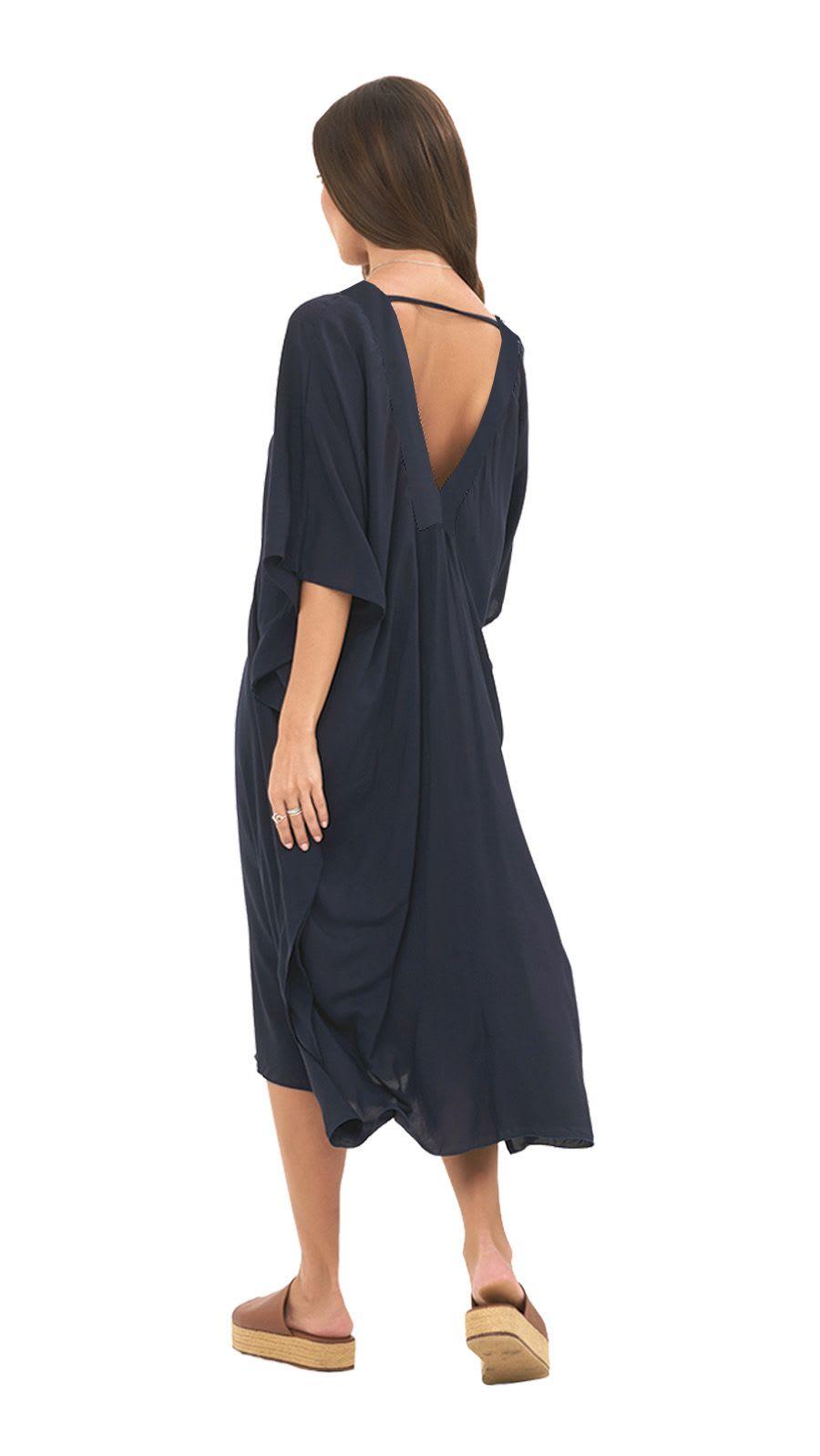 Strand Tunic Dress - Navy - Back