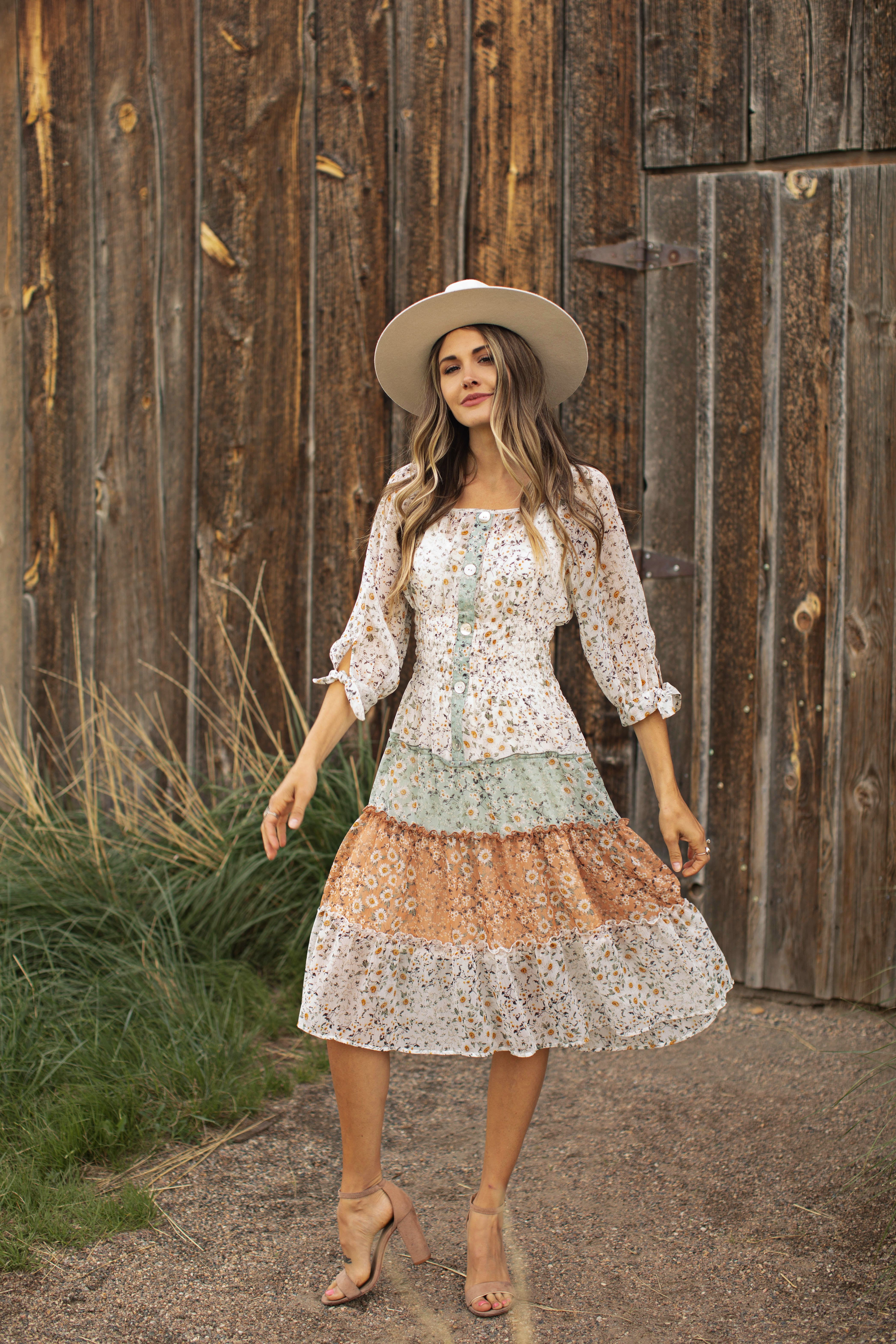 Alexa Mixed Ditsy Peasant Dress - Olive/Brown - Front