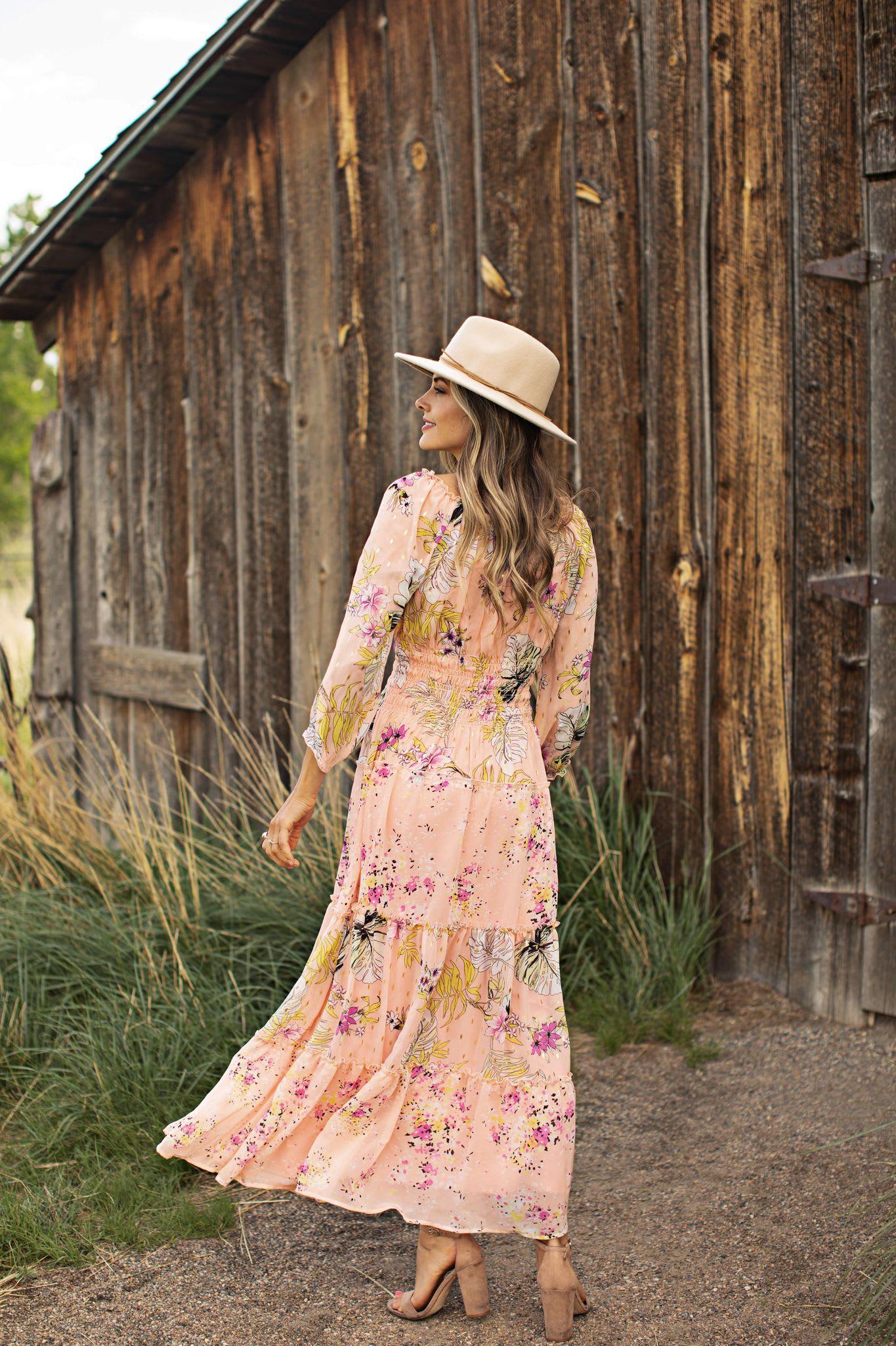 Veronica Peasant Maxi Dress - Cantaloupe - Back