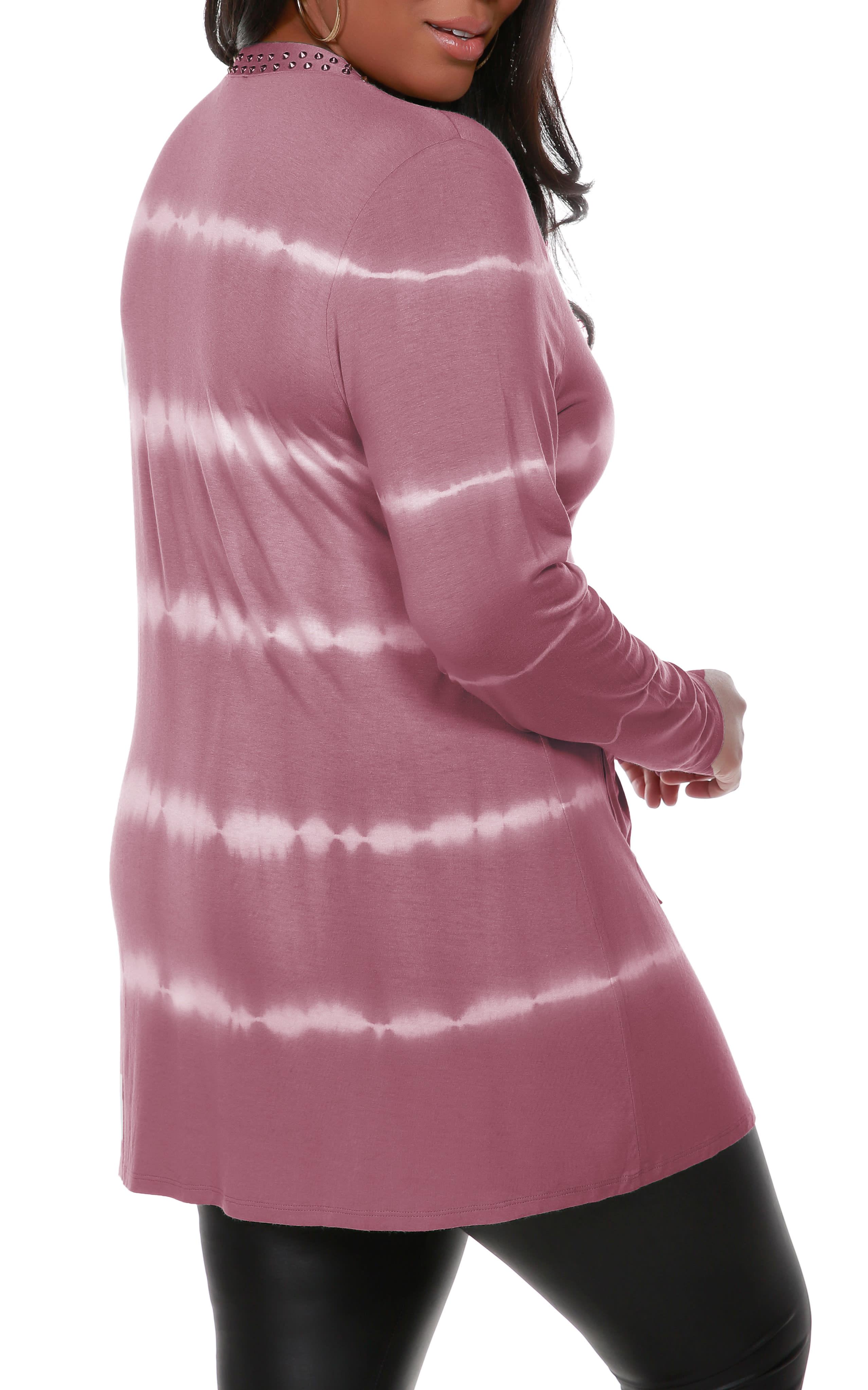 Tie Dye Cardigan - Velvet Mauve/Silver - Back