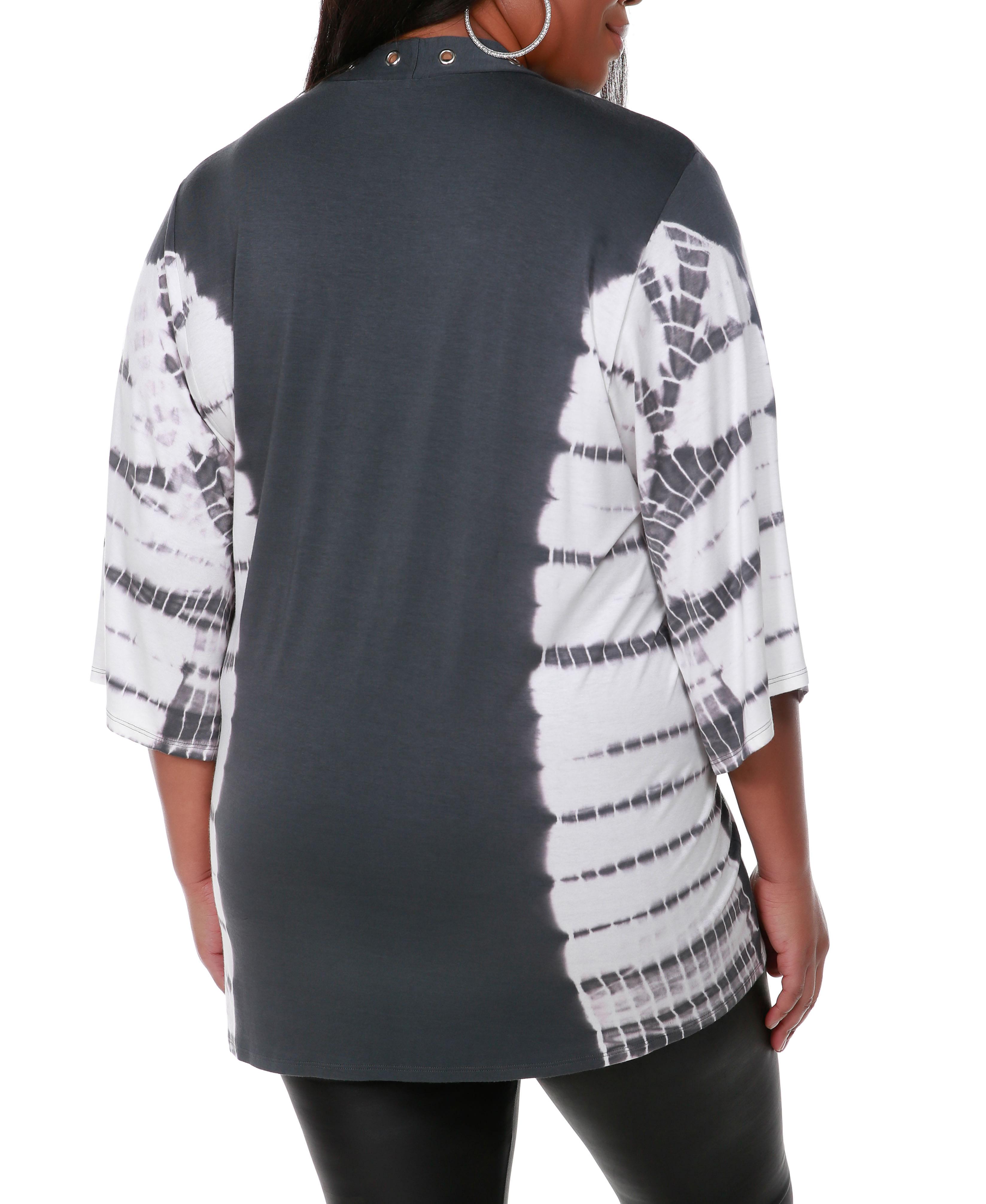 Grommet Tie Dye Cardigan - Slate Grey/Silver - Back