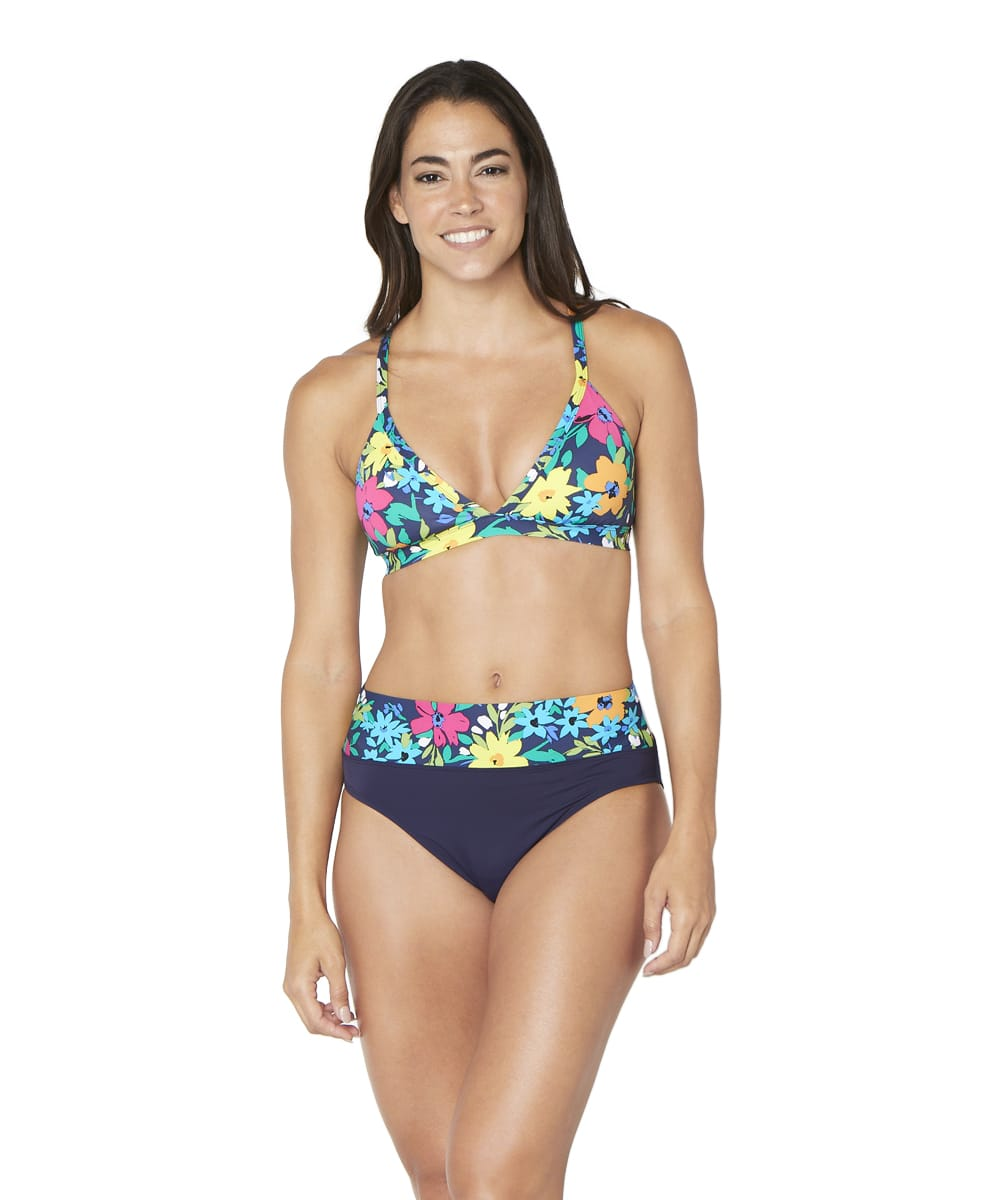 Nautica® Tropical Floral Crossback Bra Swimsuit Top - Deep Sea - Front