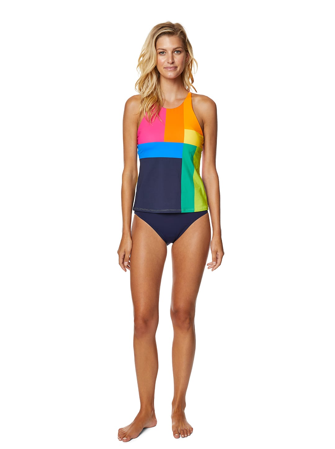 Nautica® Lighthouse High Neck Tankini Swimsuit Top - Multi - Front