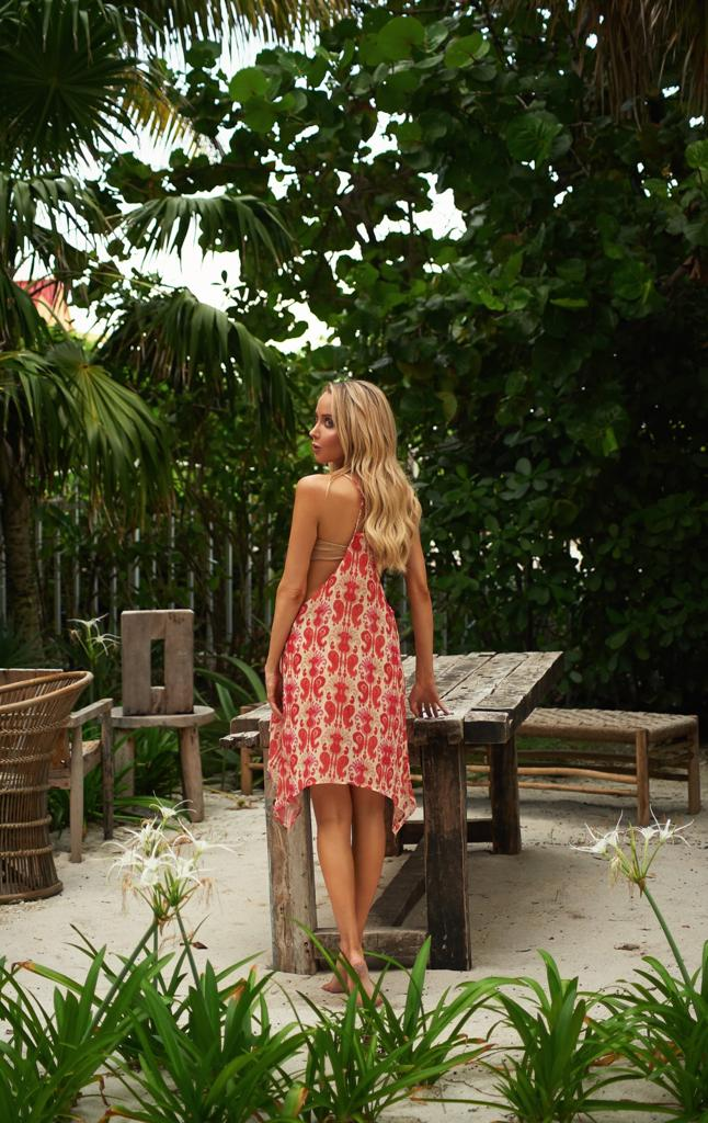 Violetta Beach Cover Up - Pink - Front