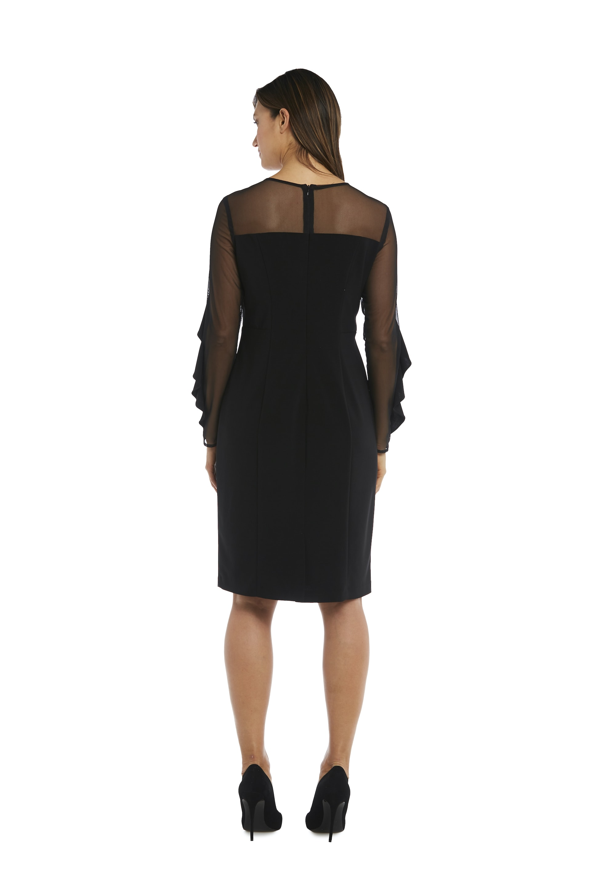 Illusion Sleeve Dress - Black - Back