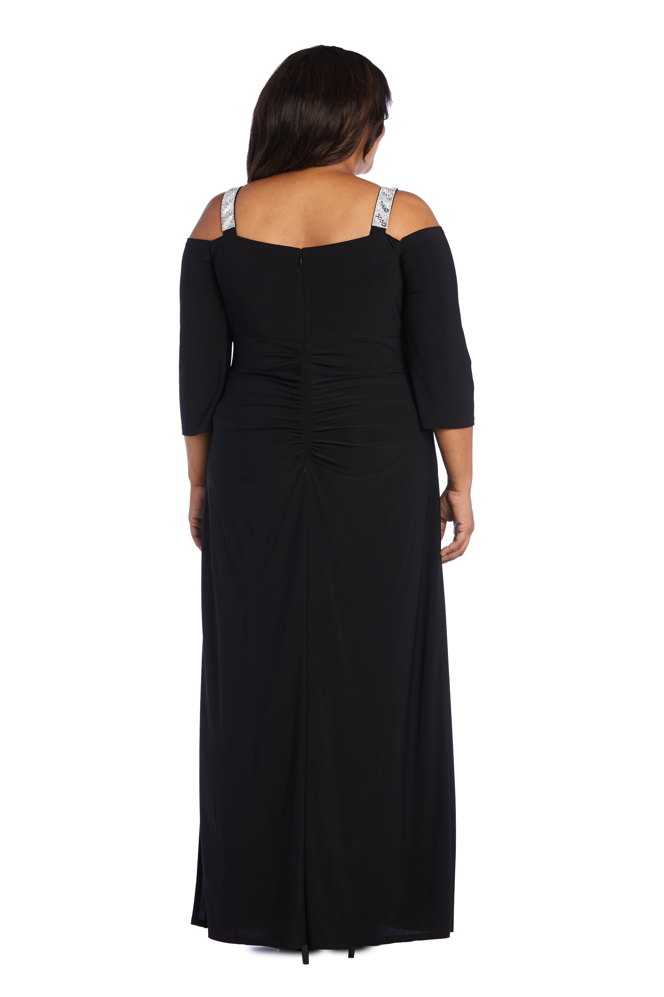 Embellished Cold Shoulder Gown - Black - Back