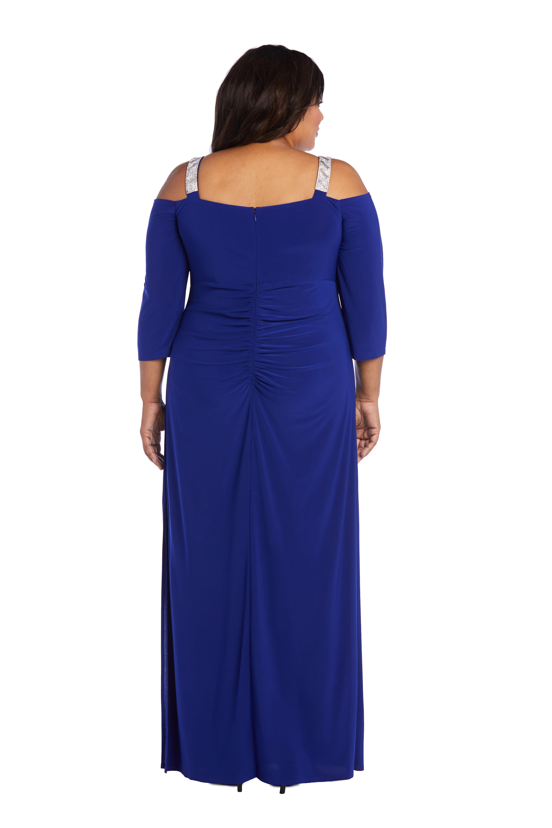 Embellished Cold Shoulder Gown - Electric Blue - Back