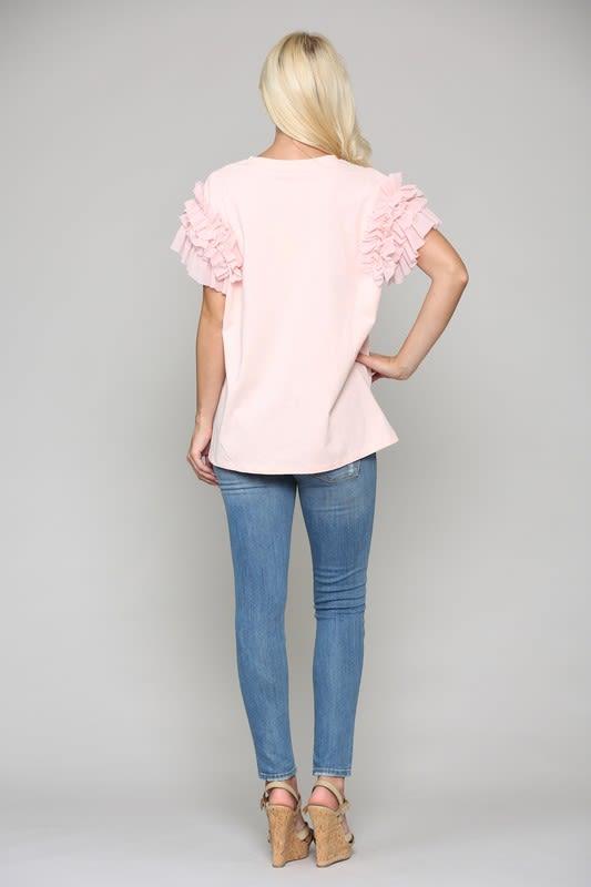 Kandice Ruffled Top - Pink - Back