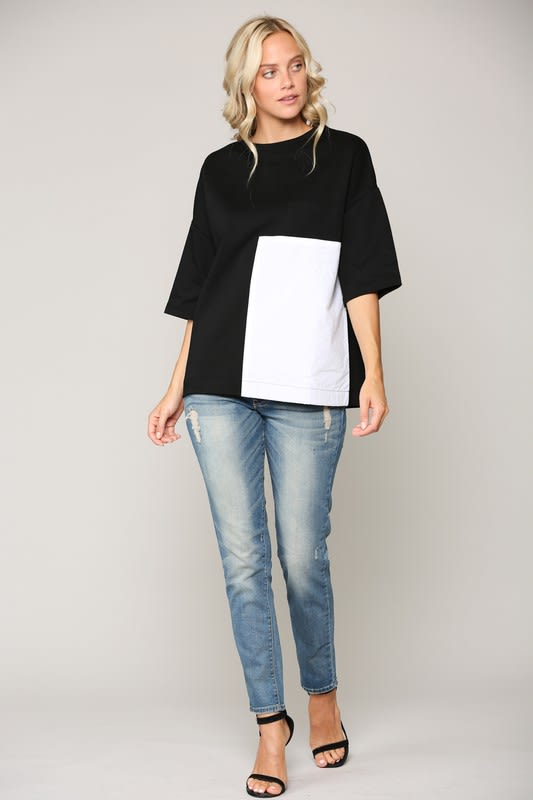 Kendra Top - Black-White - Front