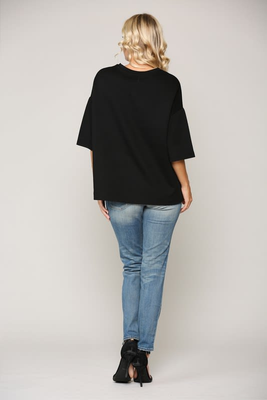 Kendra Top - Black-White - Back