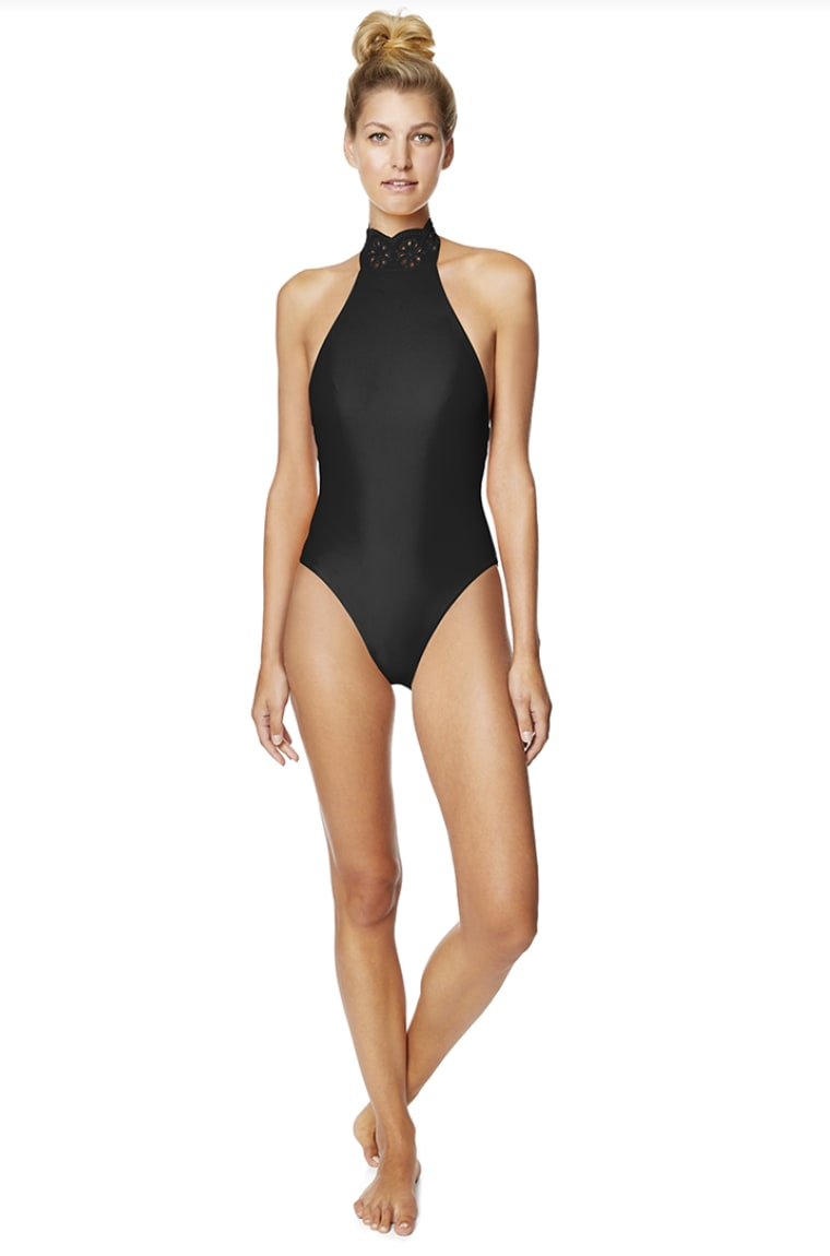 Avec Les Filles Solid Eyelet High Neck One Piece Swimsuit - Black - Front