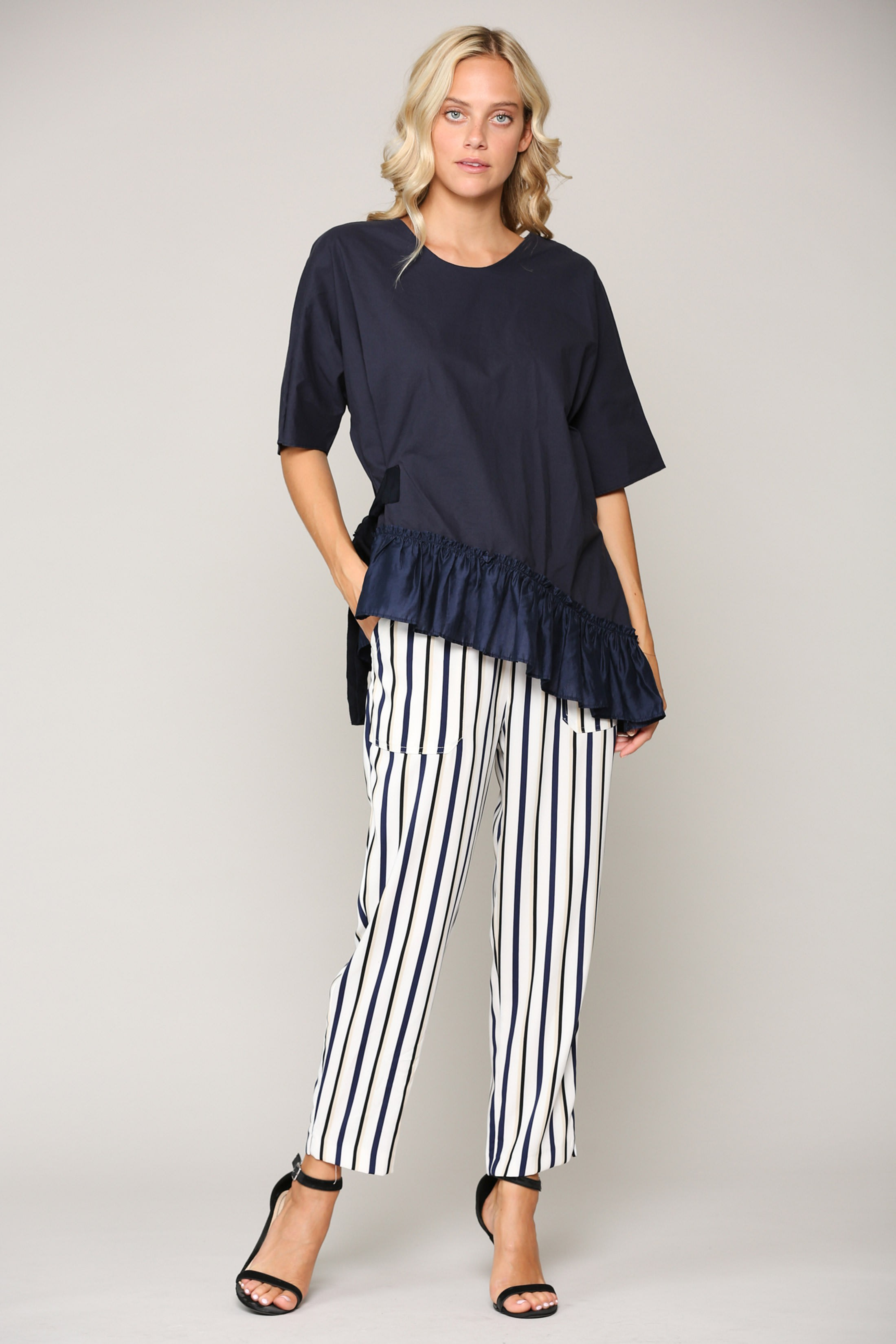 Waverly Top - Navy - Front