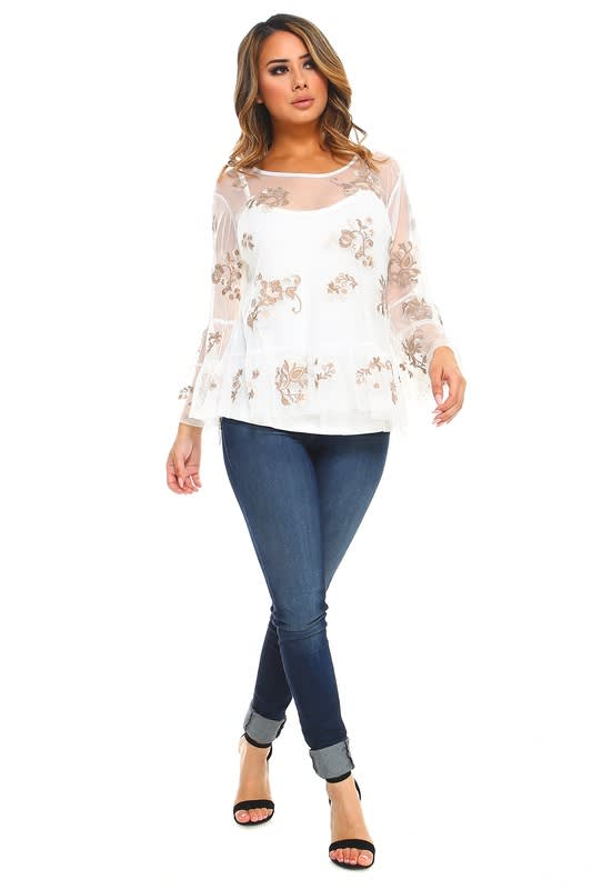 Lizzie Top - White - Front