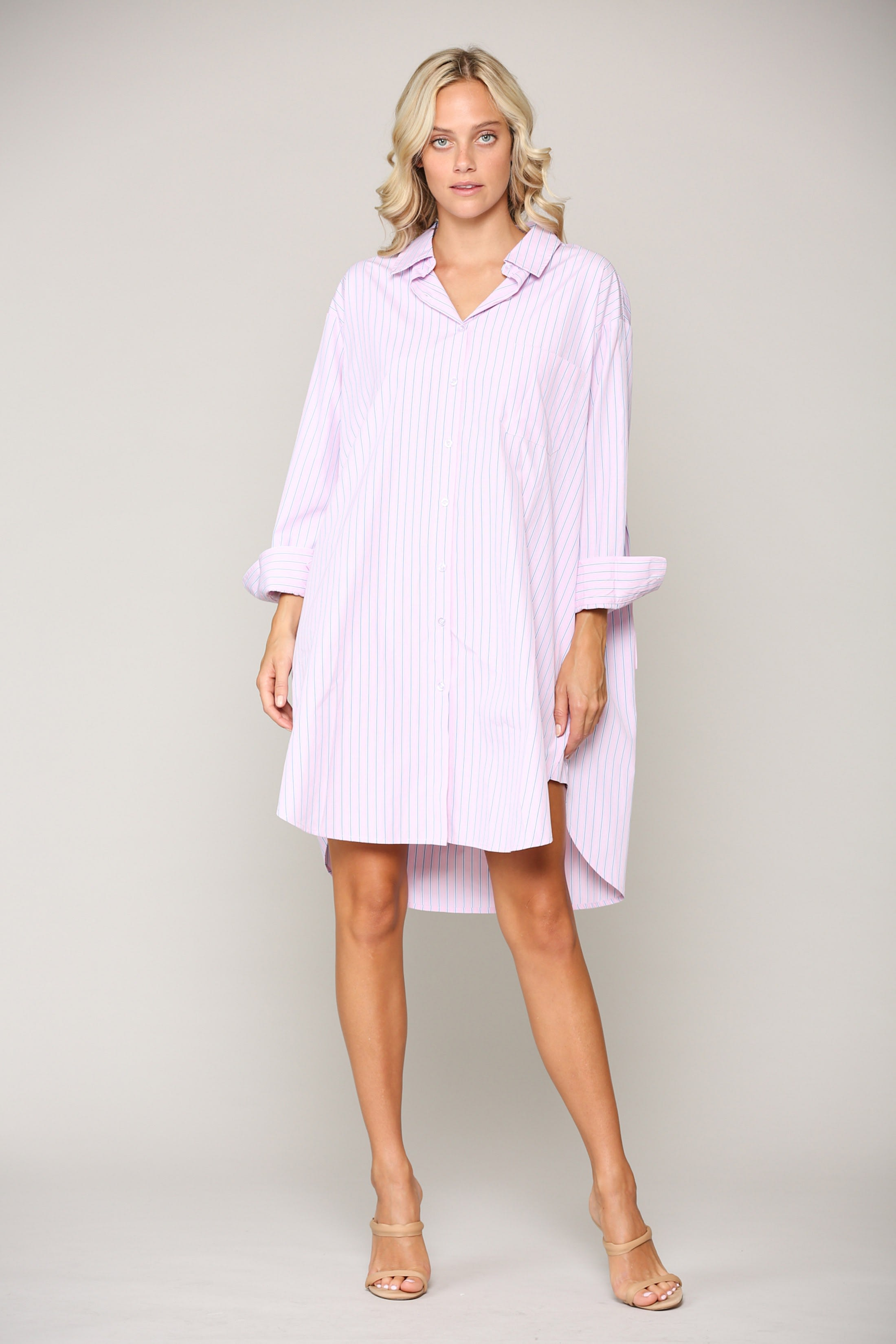 Wanda Tunic Shirt Dress - Pink stripe - Front