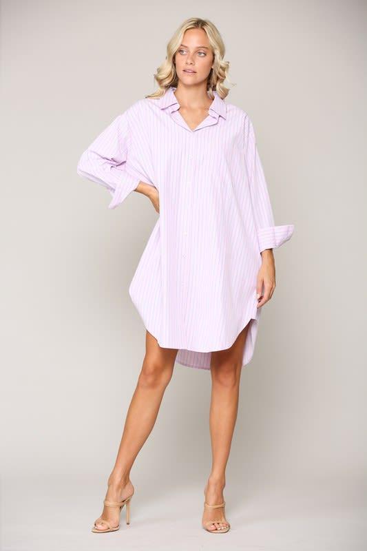 Wanda Tunic Shirt Dress - Pink stripe - Back