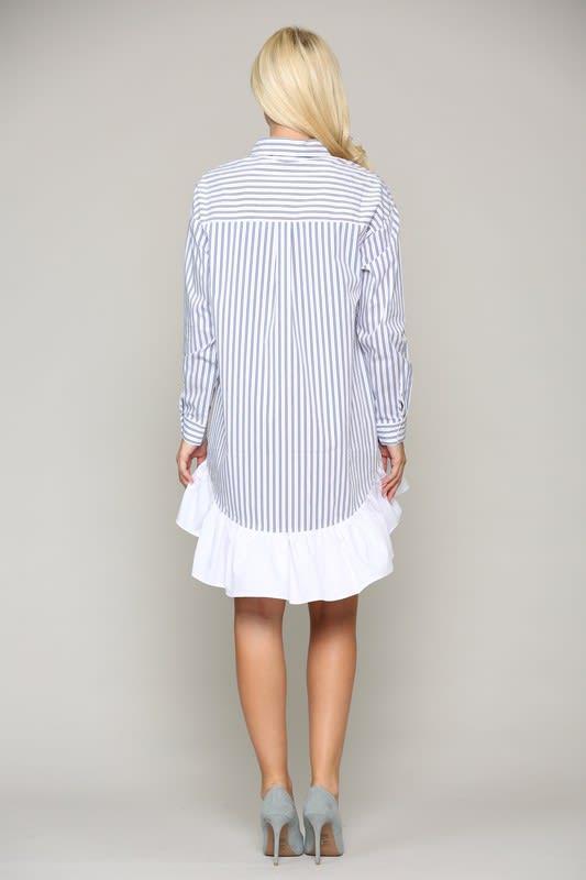 Winslet Tunic Dress - Blue stripe - Back