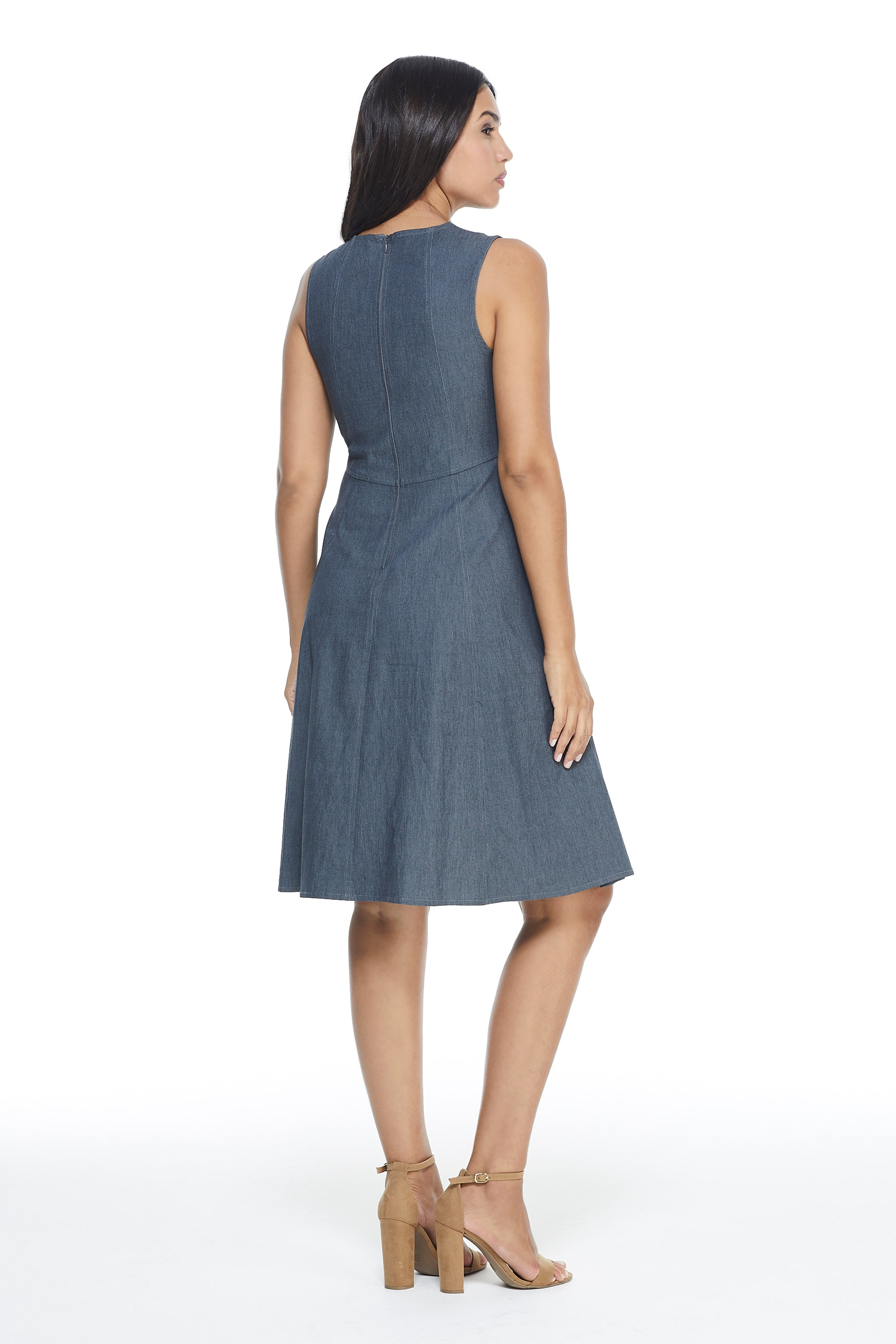 Denim Fit & Flare Dress - Denim - Back