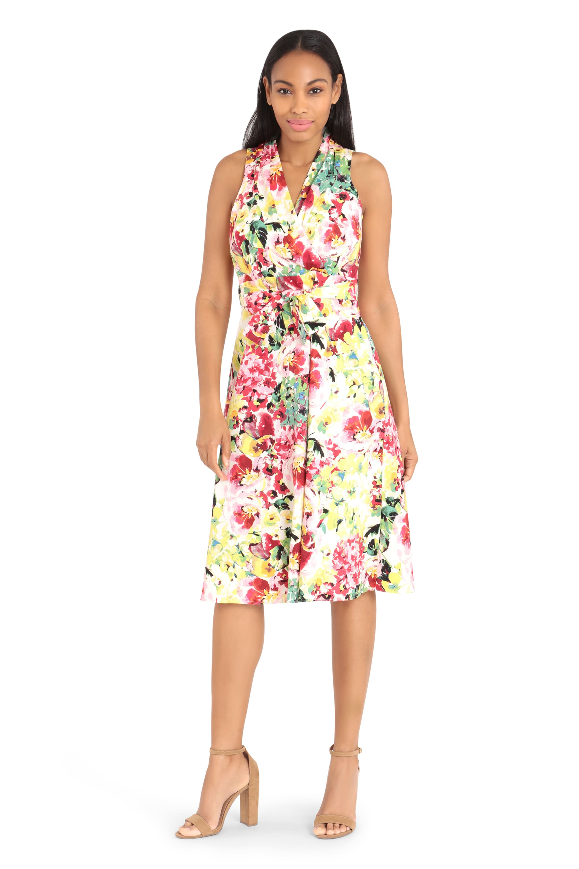 Summer Colors Floral Dress - Multi - Front
