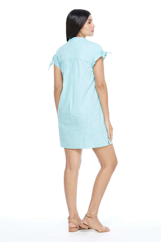 Blue Shirt Dress - Turquoise - Back