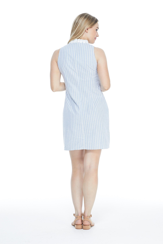 Casual Striped Shirt Dress -  - Back