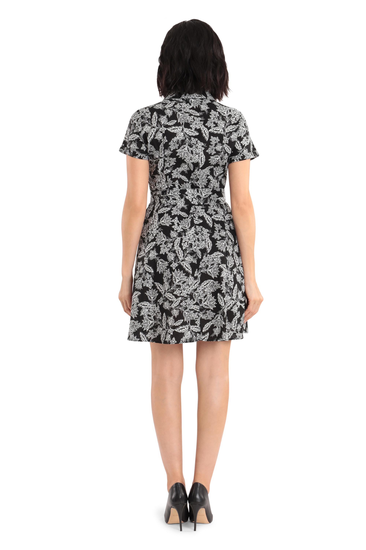 Short-Sleeves Semi-Formal Dress - Black/White - Back