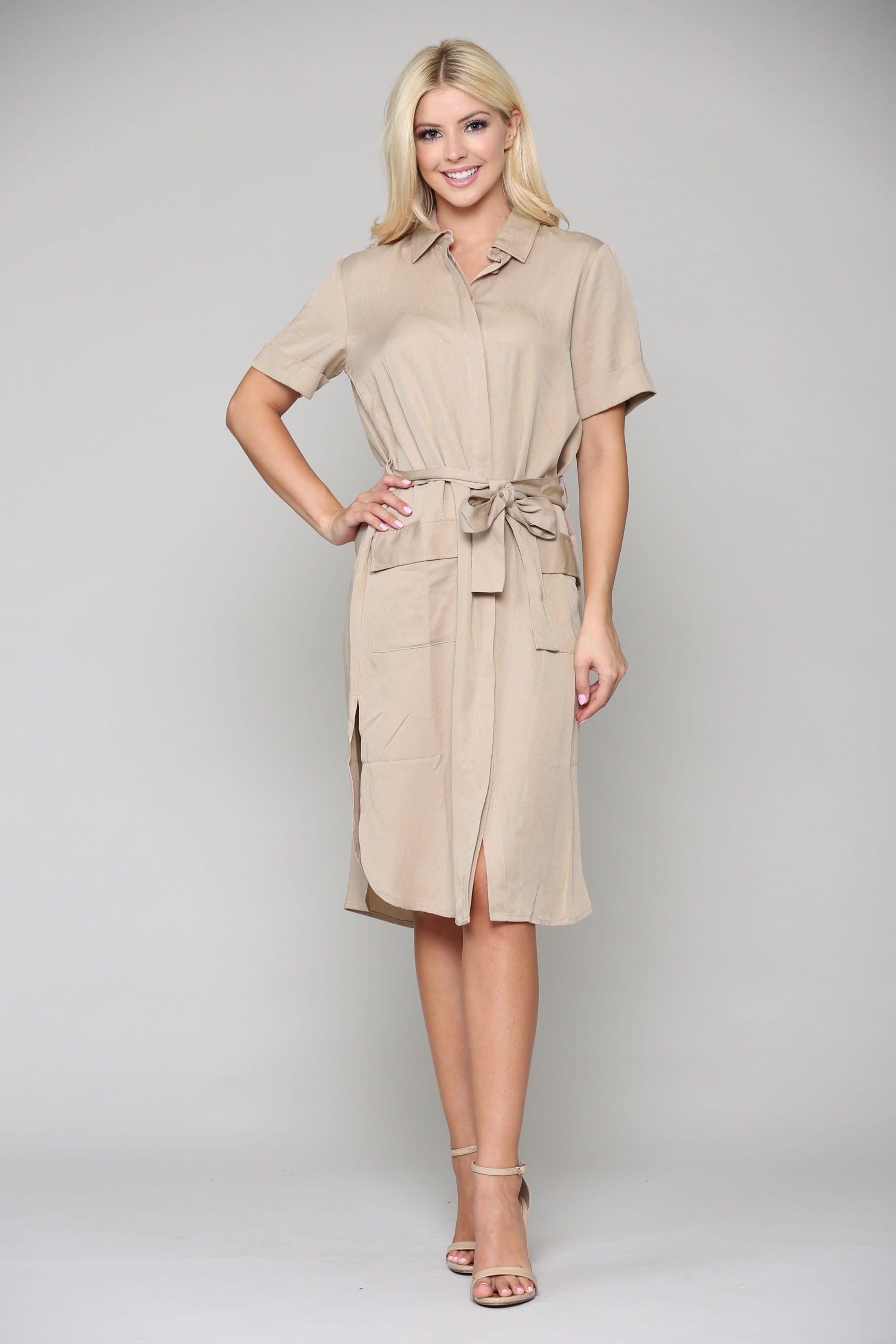 Teresa Tunic Dress - Khaki - Front
