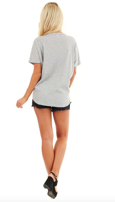 Faux Button Tie Front Tee - Grey - Back