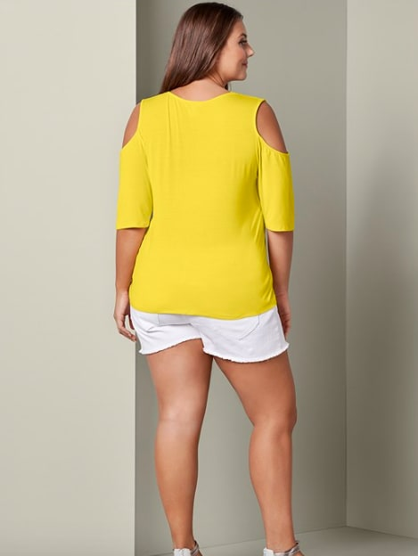 Cold Shoulder Strappy Tee - Plus - Yellow - Detail