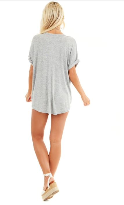 Cross Front Oversized Tee - Grey - Back