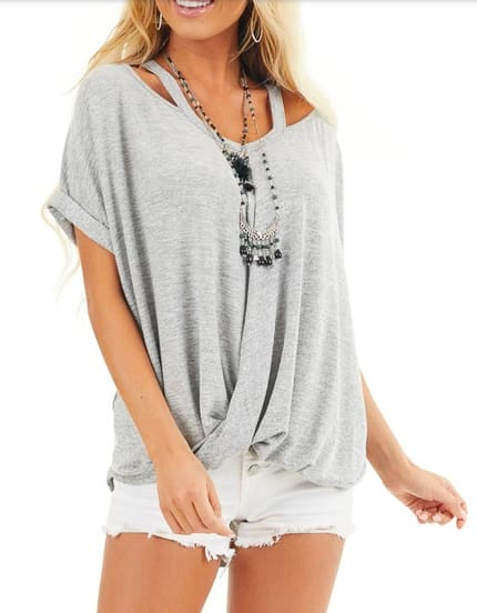 Cross Front Oversized Tee - Grey - Front
