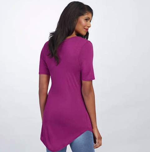 Basic V Neck Long Tee - Berry - Back