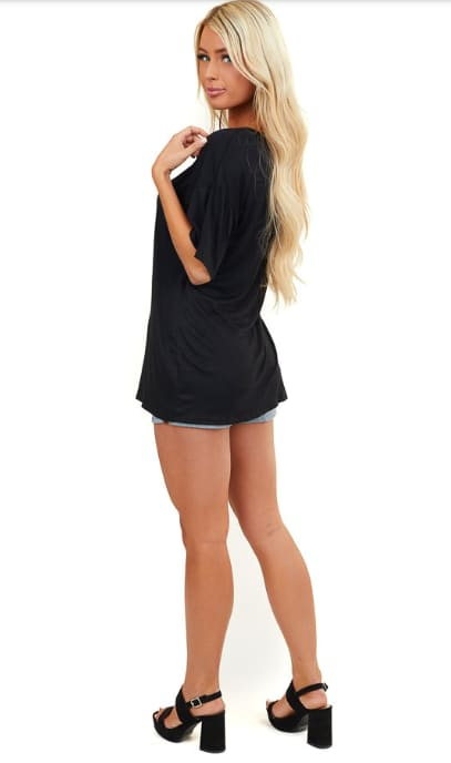 Low V Laced Oversized Tee - Black - Back