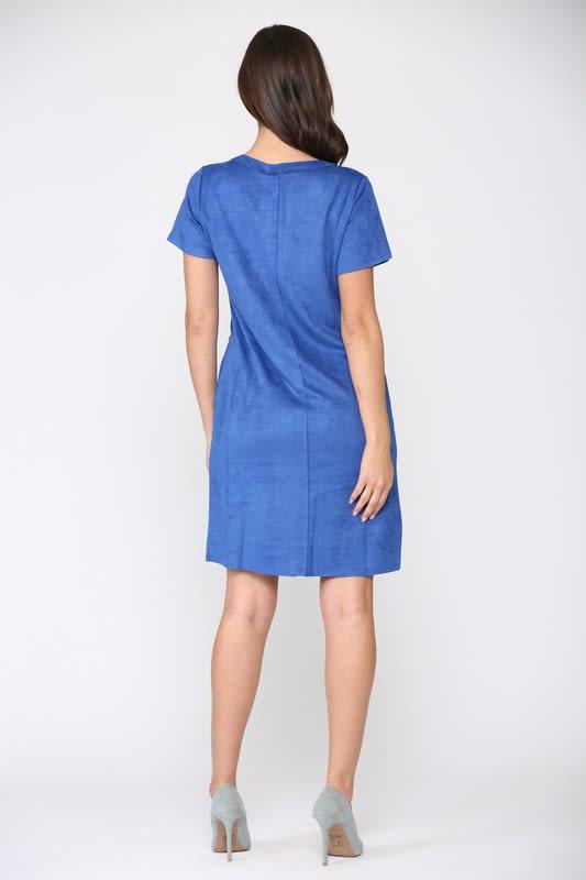 Adelyn Dress W/ Front Detailed Stitching - Cobalt - Back
