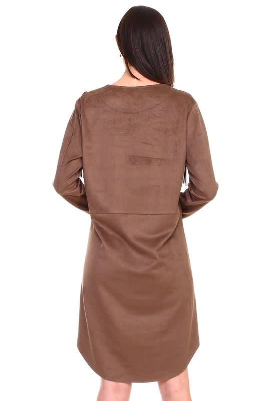 Angie Fringe Dress - Umber - Back