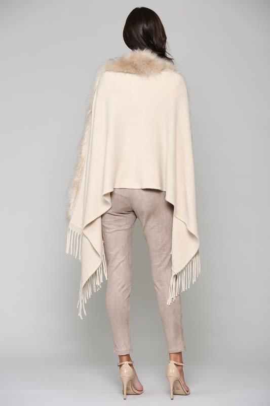 Faye Fur Wrap - Khaki - Back
