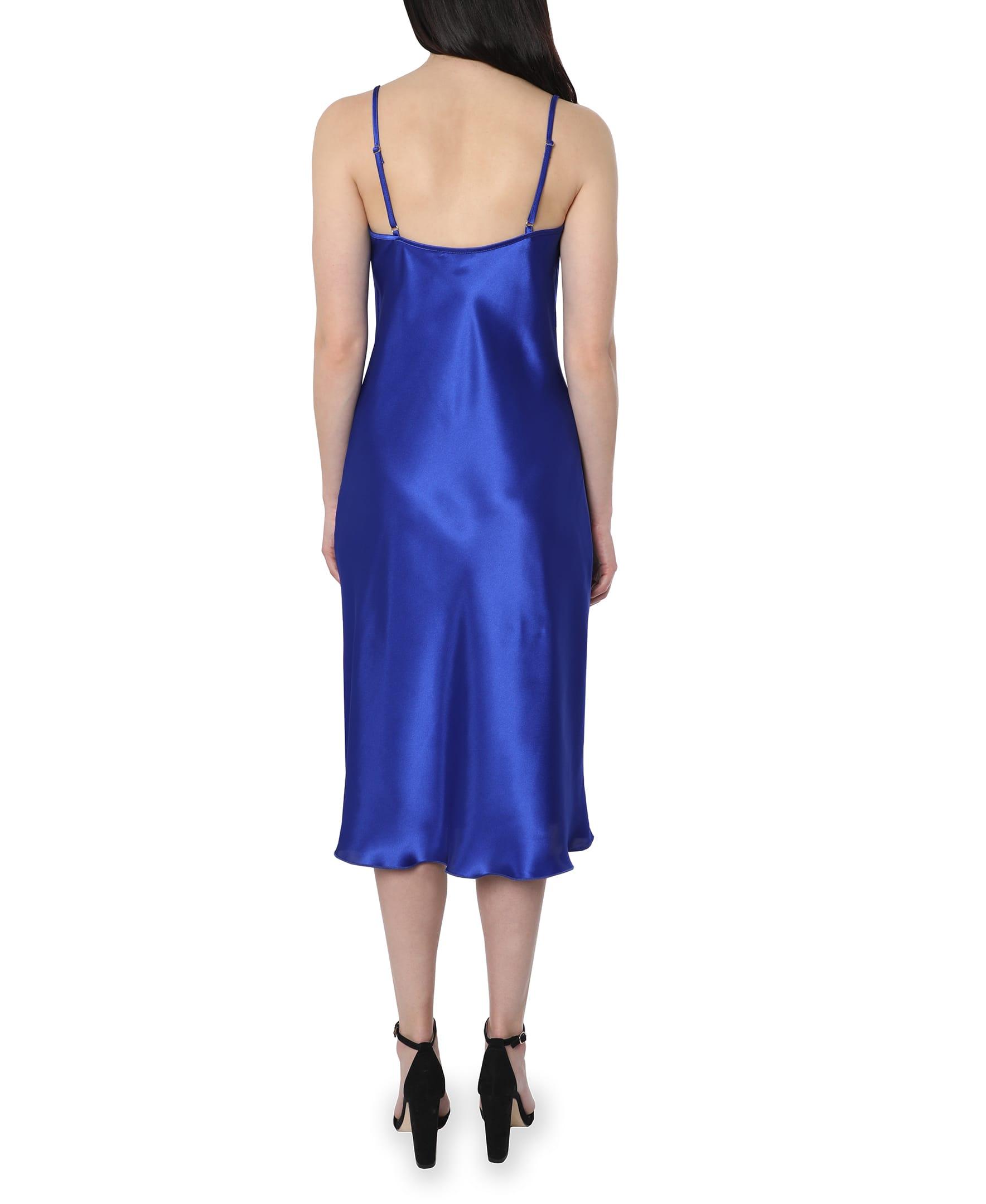 Bebe Satin Midi Dress - cobalt - Back