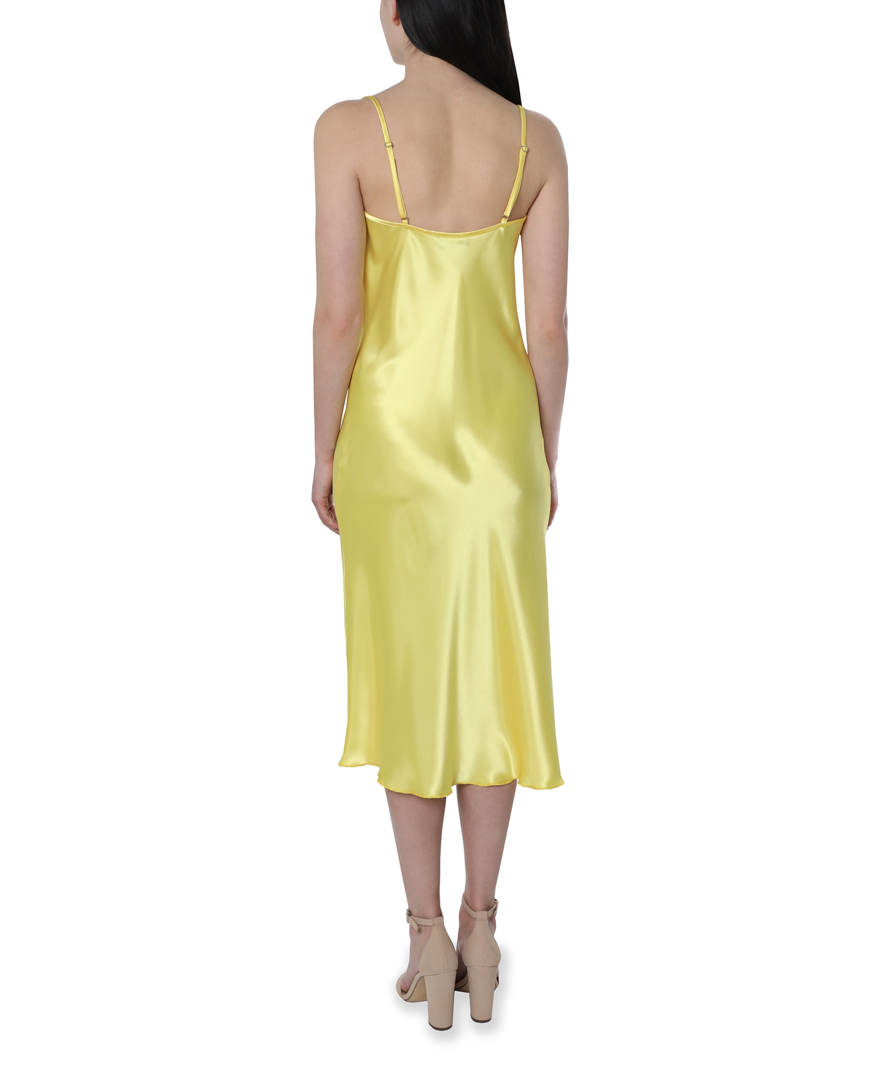 Bebe Satin Midi Dress - yellow - Back