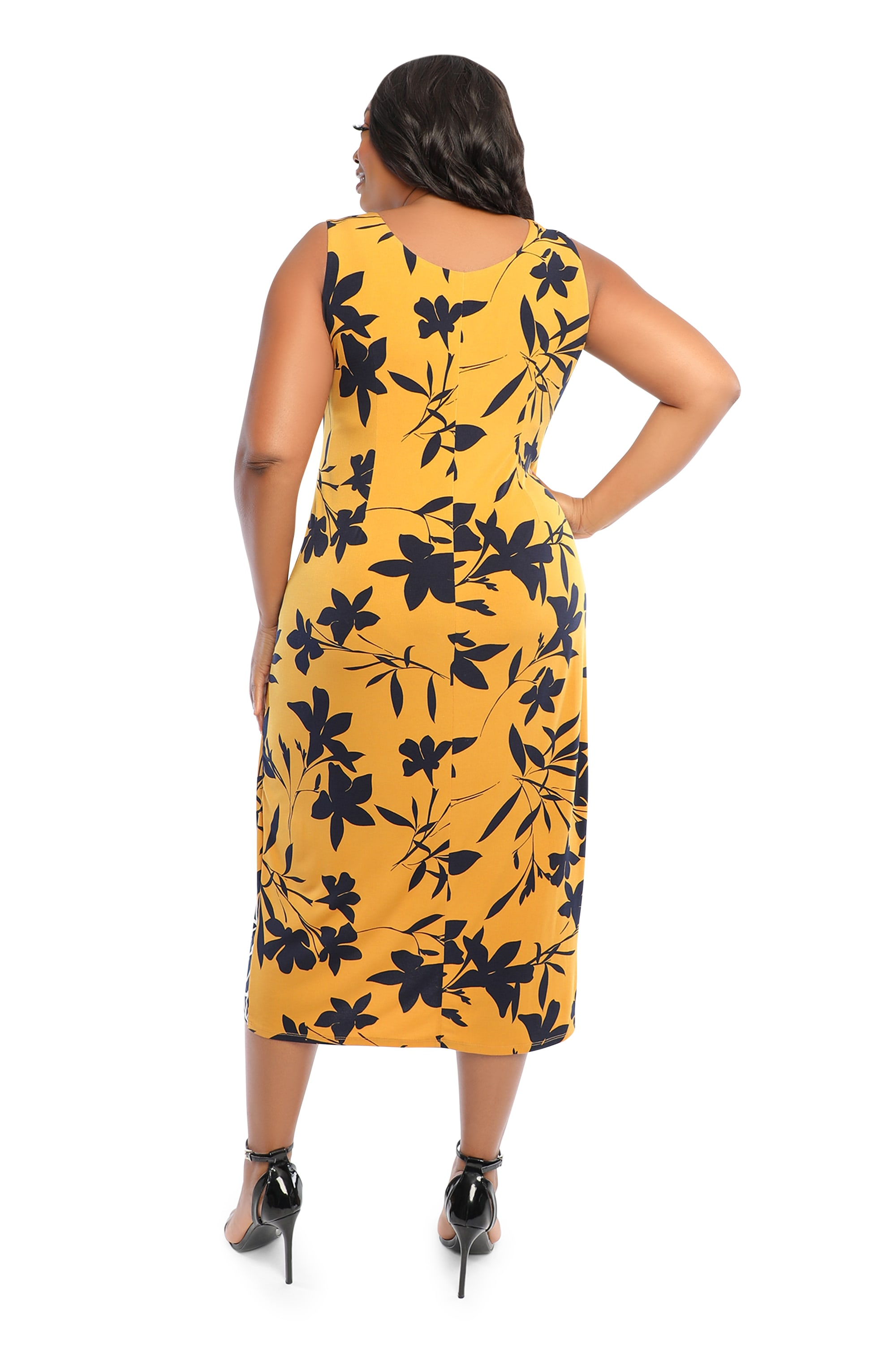 Border Print Tank Dress - Plus - gold/navy - Back