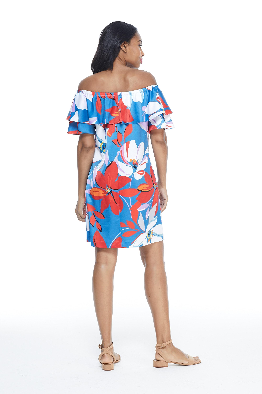Large Floral Short Sundress-Petite - Red/Blue - Back