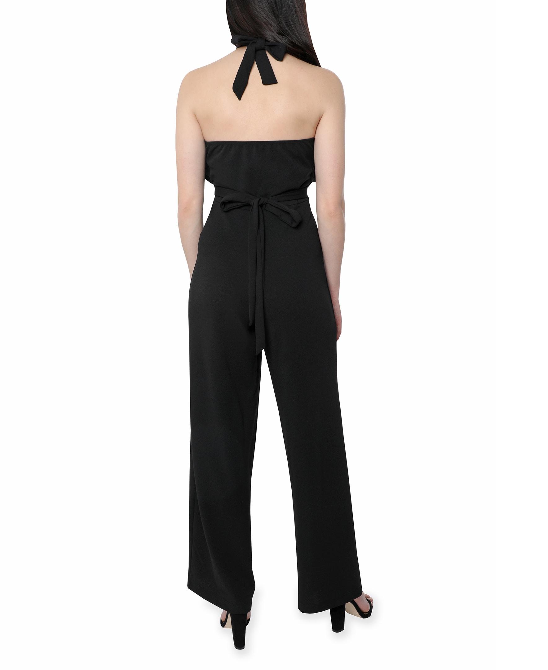 Bebe Halter Jumpsuit - black - Back