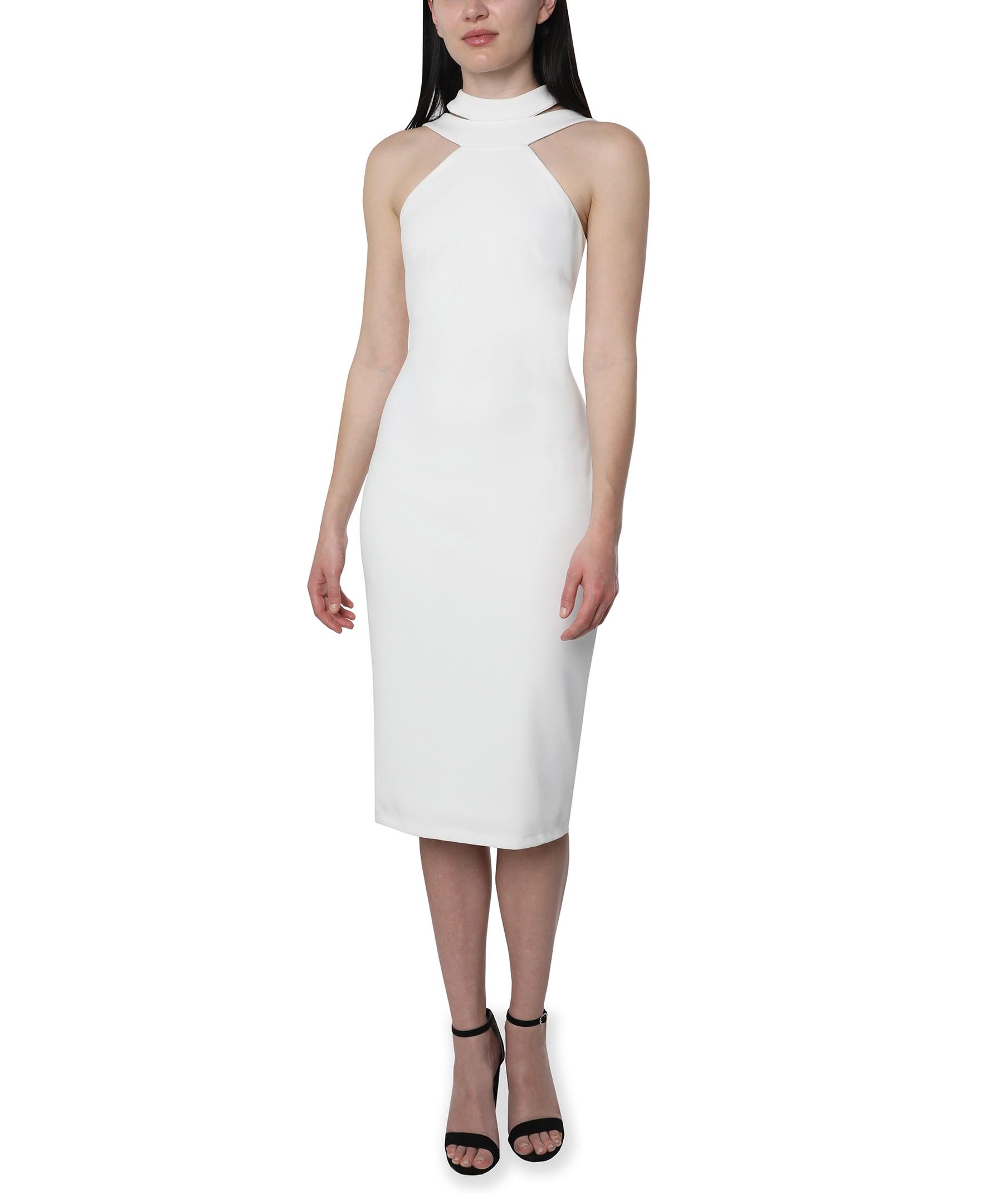 Bebe Halter Neck Midi Dress - Ivory - Front