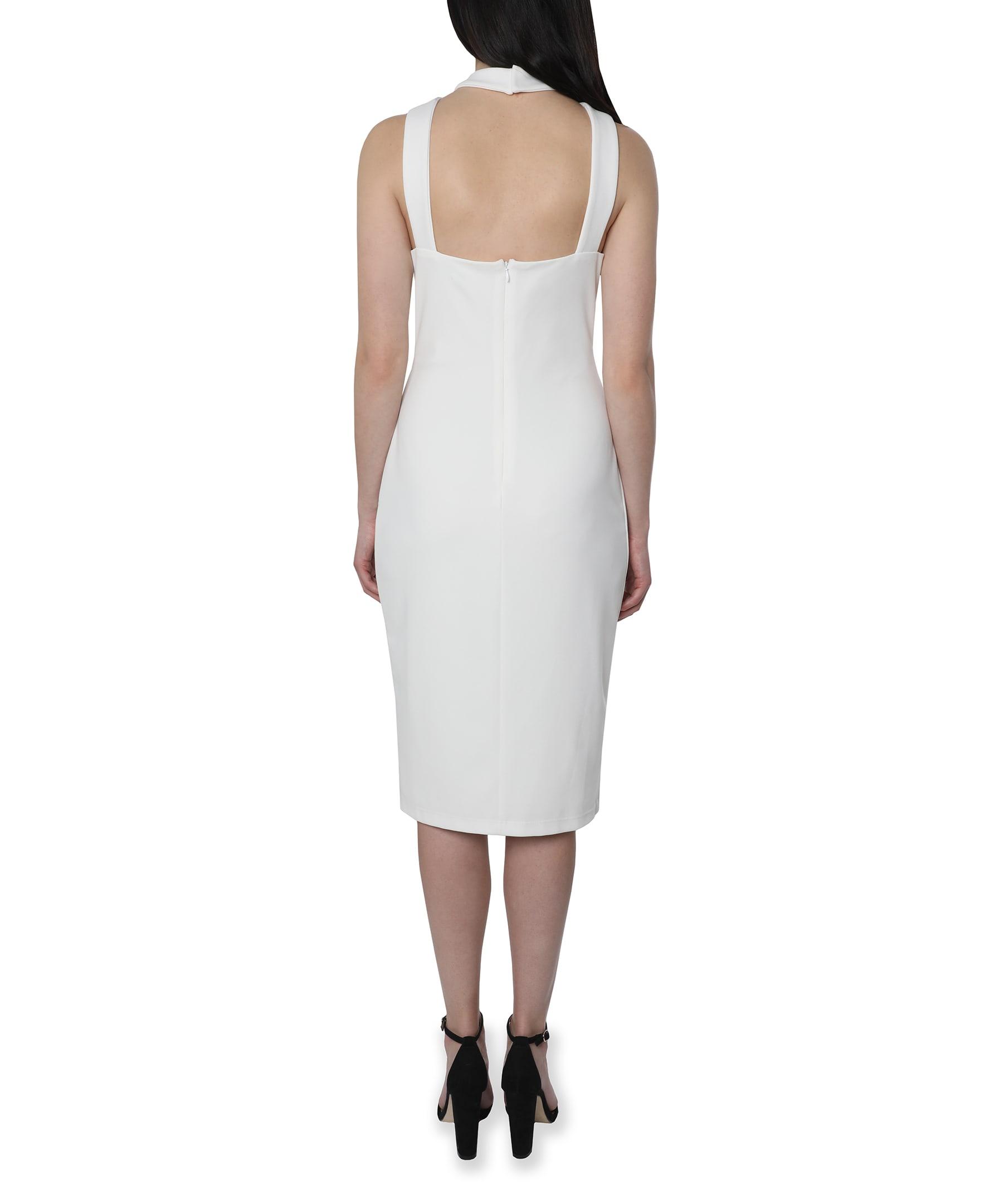 Bebe Halter Neck Midi Dress - Ivory - Back