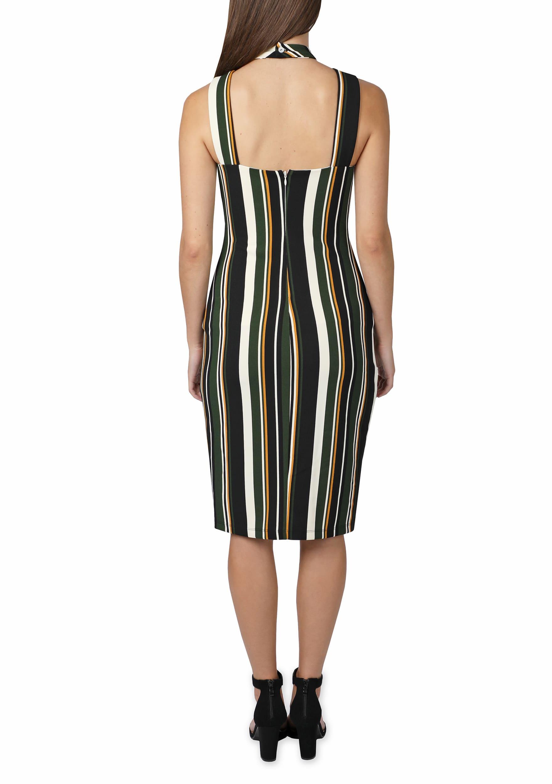 Bebe Stripe Halter Midi Dress - Green/multi - Back