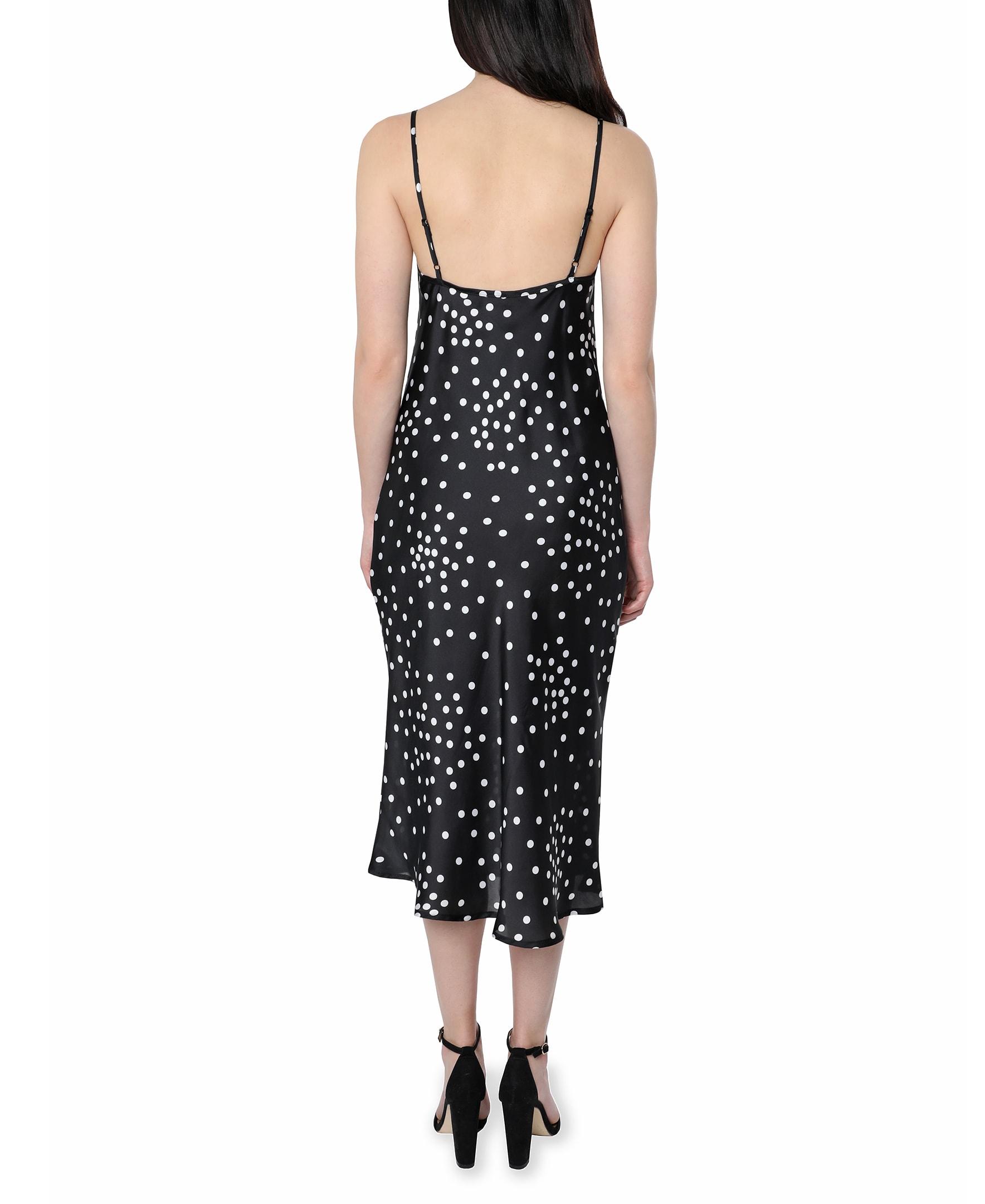 Bebe Polka Dot Satin Midi Dress - Black/white - Back