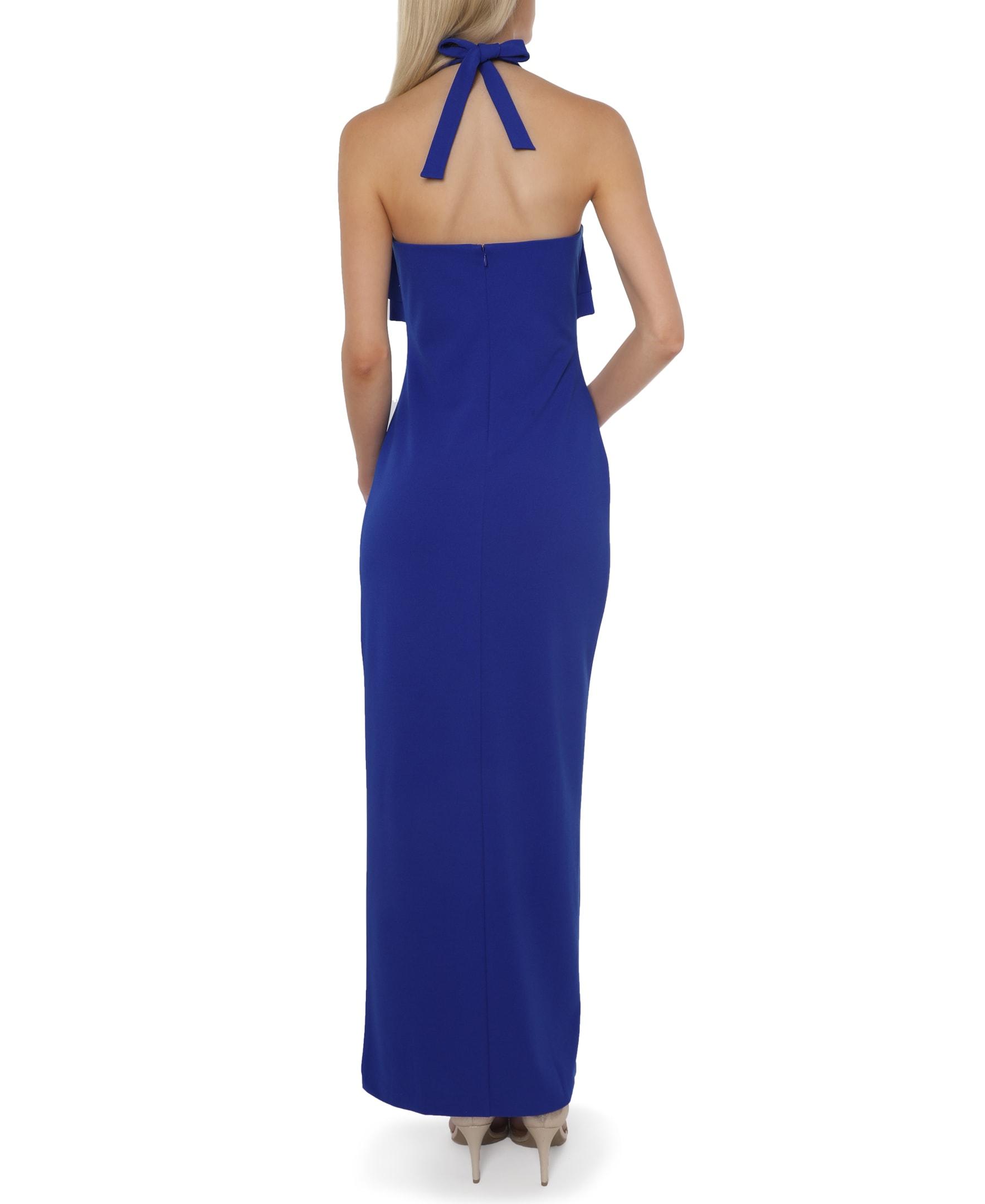 Bebe Ruffle Halter Gown - cobalt - Back