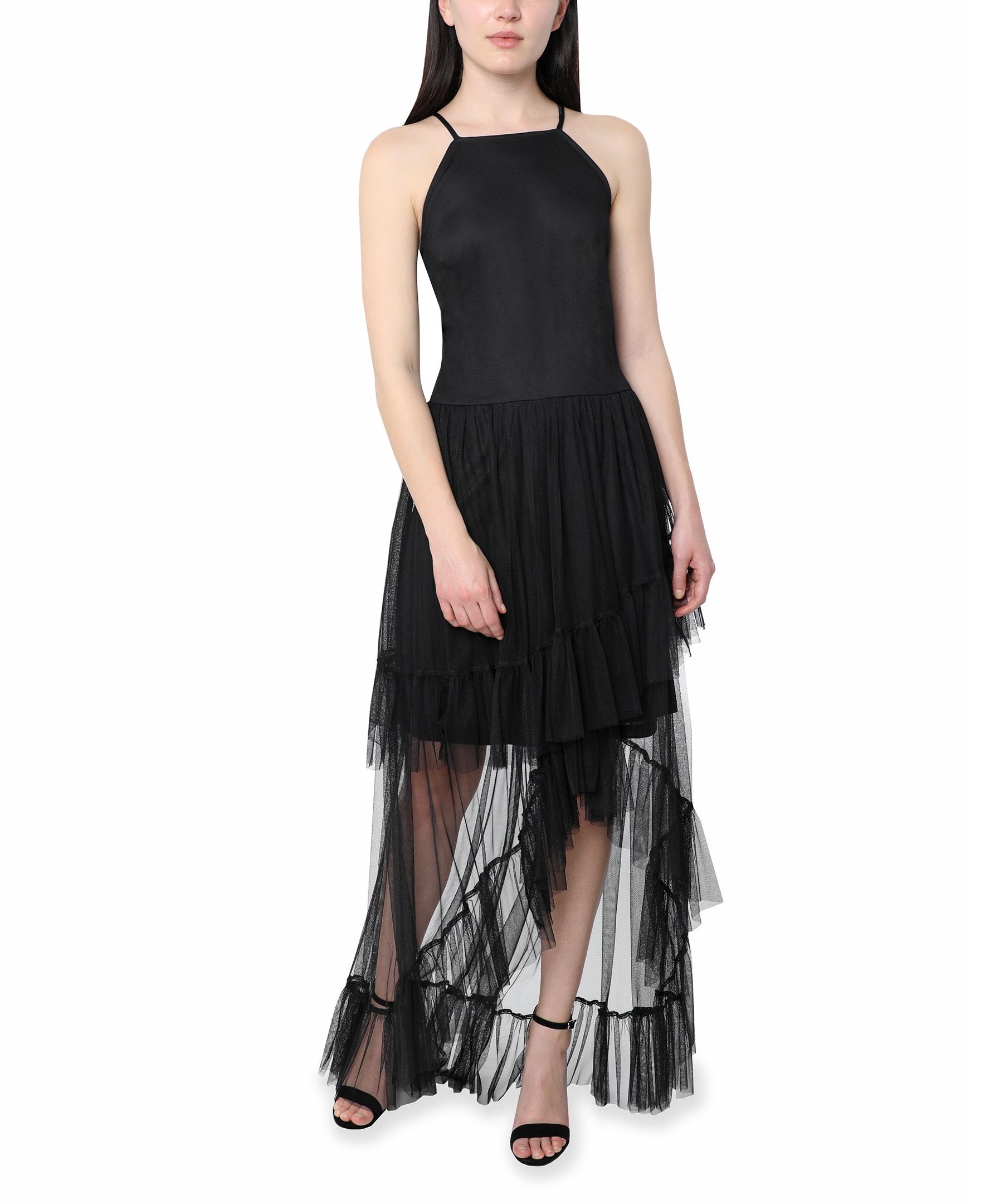 Bebe Halter  Hi Low Gown - black - Front