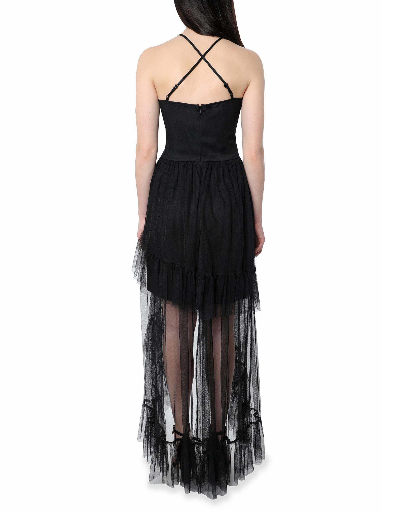 Bebe Halter  Hi Low Gown - black - Back