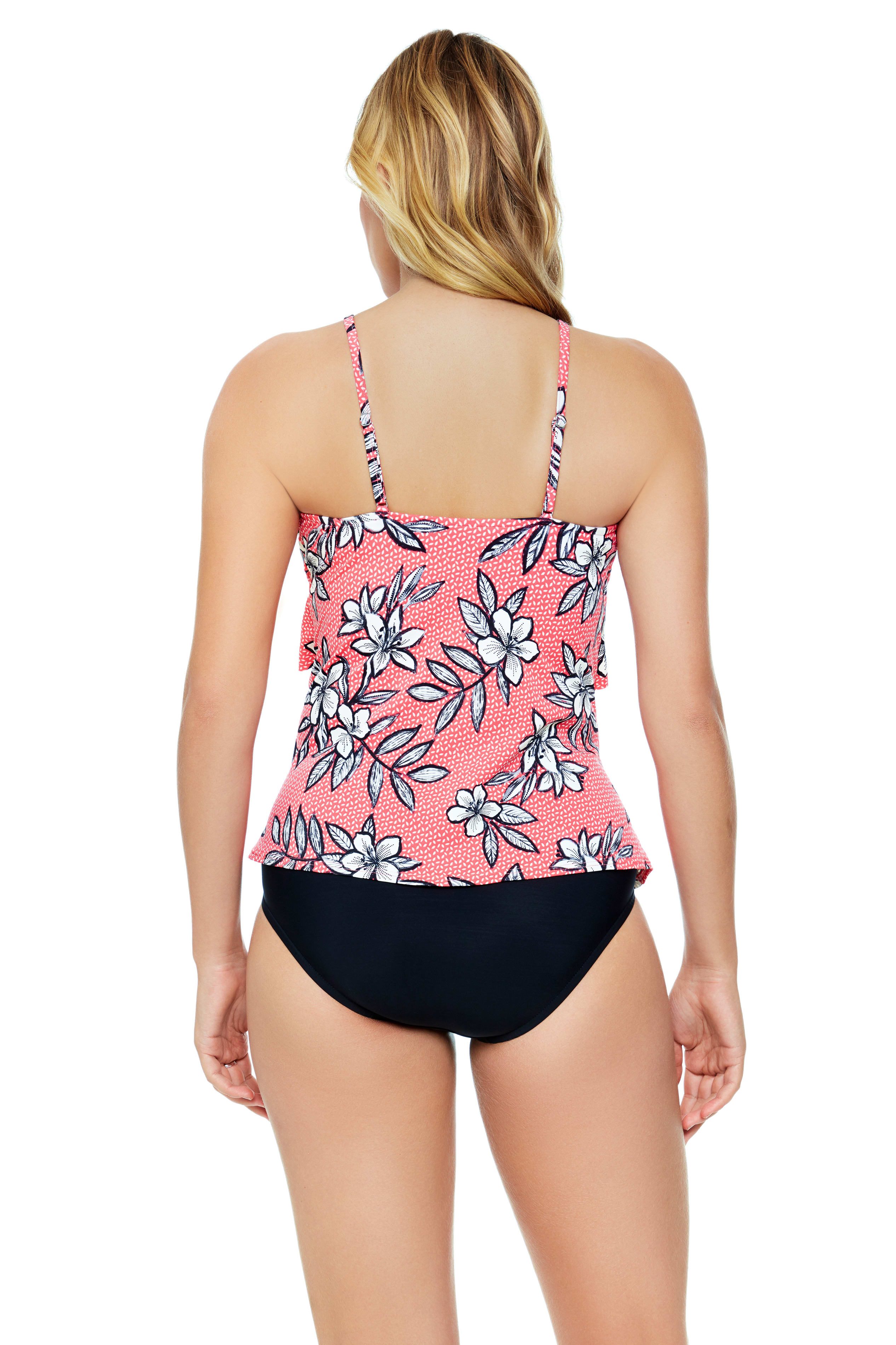 Penbrooke Catalina Coral Hi Neck Ruffle Tankini Swimsuit Top - Coral - Back