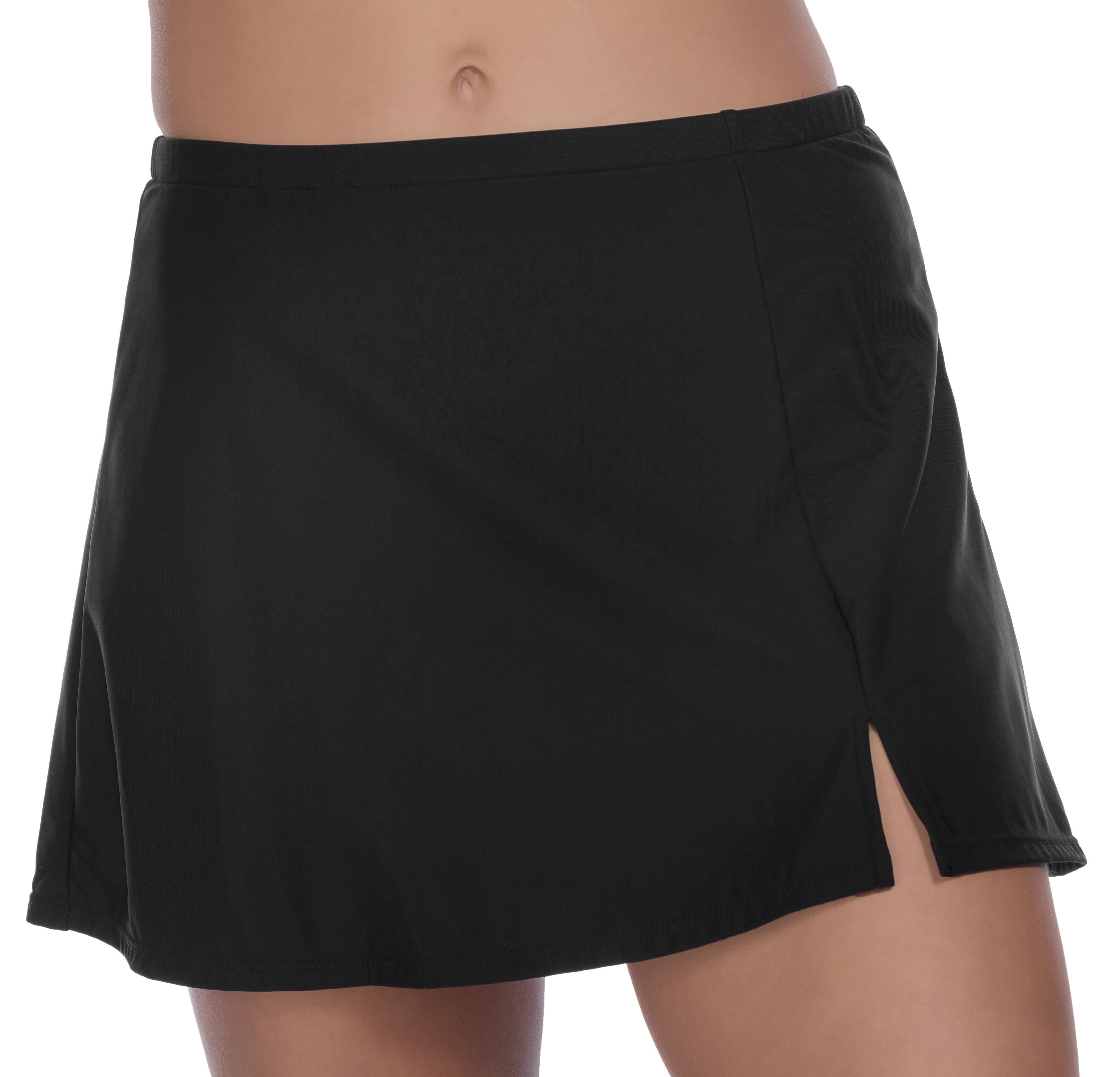 Penbrooke Side Slit Swimsuit Skirt Bottom - Black - Front