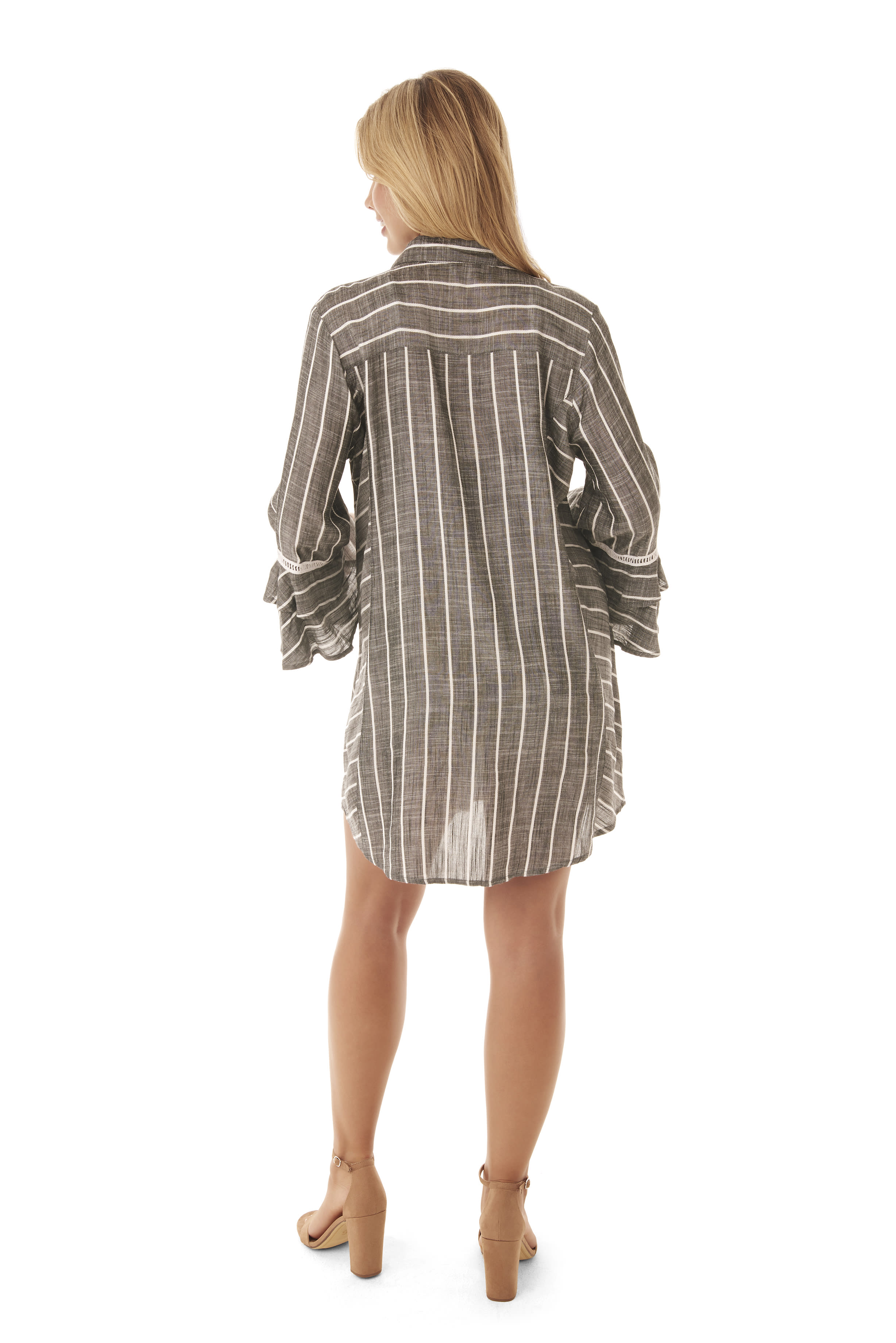 Penbrooke Ruffle Sleeve Oversize Shirt Swimsuit Cover-Up - Grey - Back